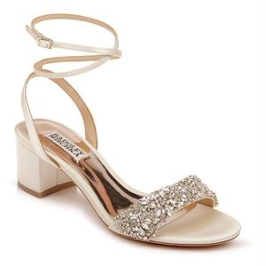 Badgley Mischka Jada Low Heel Satin Sandals_8.5